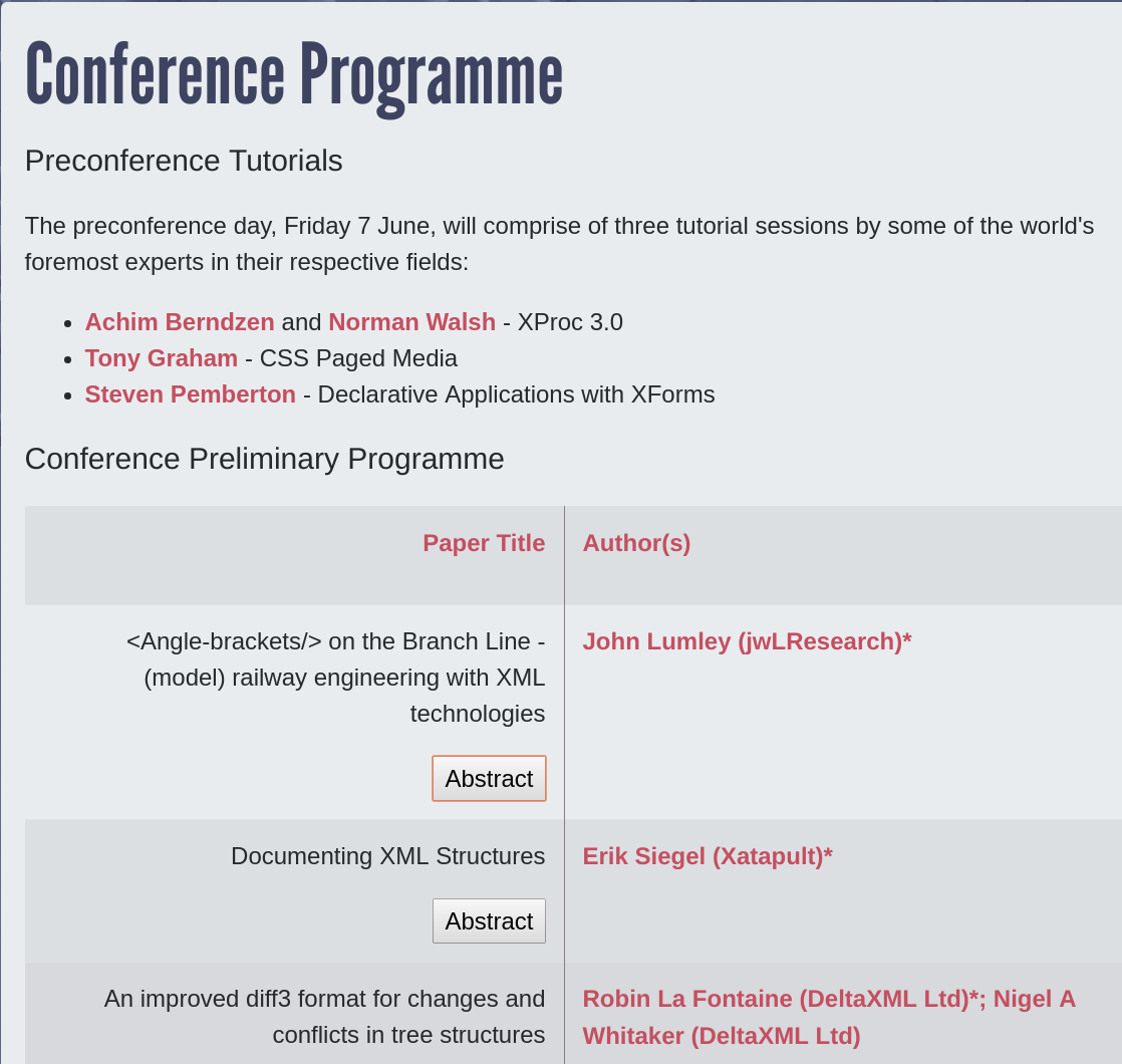 A Conference Overview Page